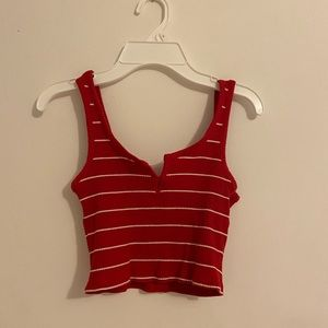Pacsun Striped Red Cropped Tank Top